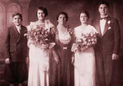 Bessie's family at a wedding: Bessie, Al, Ann, Feggy, and Selig