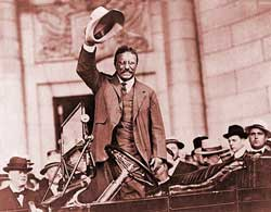 Teddy Roosevelt waving to a crowd as symbol of the Progressive Era in Bessie's Pillow
